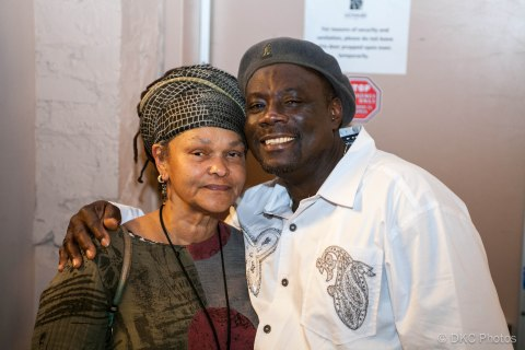 Reggae promoter Dera Tompkins with Tony Roy